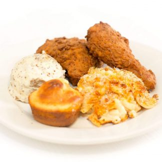 fried chicken, mashed potatoes, corn bread, and macaroni and cheese