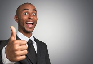 sales representative happy about getting rewards for being a frequent customer